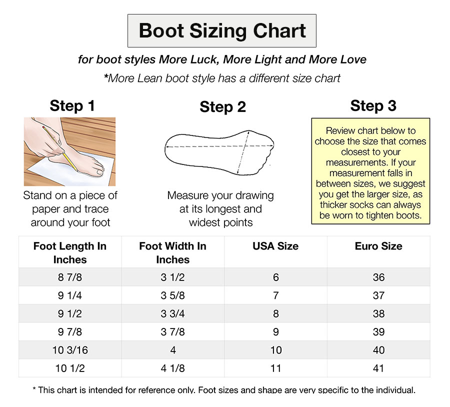 boot sizing chart